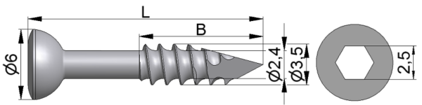 Wkręt kostkowy Ø3,5/2,4mm trokar B=8-33mm