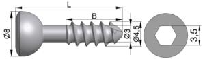 Wkręt kostkowy Ø4,5/3,0mm B=10-37mm