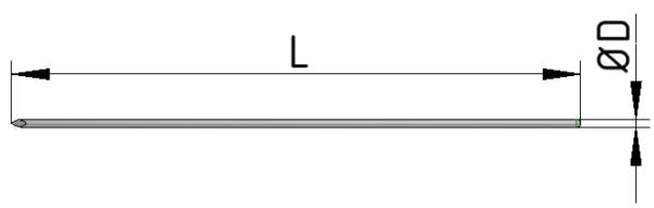 Gwóźdź prowadzący øD x L